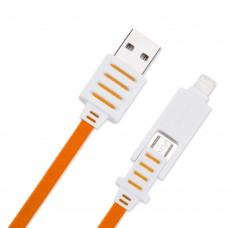Eloop สายชาร์จ 2 in 1 USB Fast Charging Data Cable Double Sided สีส้ม
