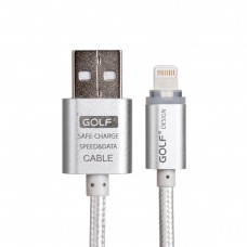 Golf สายชาร์จ Lightning แบบถัก Metal Quick Charge & Data Cable for iPhone&iPad สีเงิน