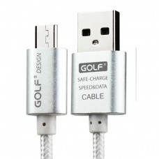 Golf สายชาร์จ Micro USB แบบถัก Metal Quick Charge & Data Cable สำหรับ Android สีเงิน