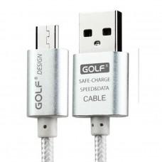 Golf สายชาร์จ Micro USB แบบถัก Metal Quick Charge & Data Cable สำหรับ Android สีเงิน