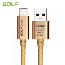 Golf สายชาร์จ Micro USB แบบถัก Metal Quick Charge & Data Cable สำหรับ Android สีทอง