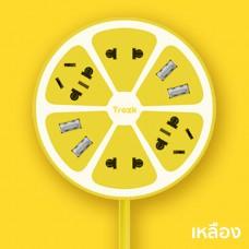 Trozk ปลั๊กไฟทรงผลไม้ 4 Power Station 4 USB Socket สำหรับชาร์จมือถือ Smartphone สีเหลือง
