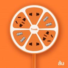 Trozk ปลั๊กไฟทรงผลไม้ 4 Power Station 4 USB Socket สำหรับชาร์จมือถือ Smartphone สีส้ม